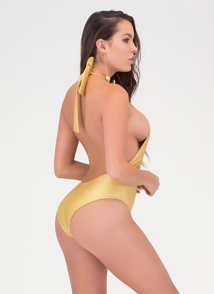Body Goals Strappy One-Piece Swimsuit GOLD (Final Sale)