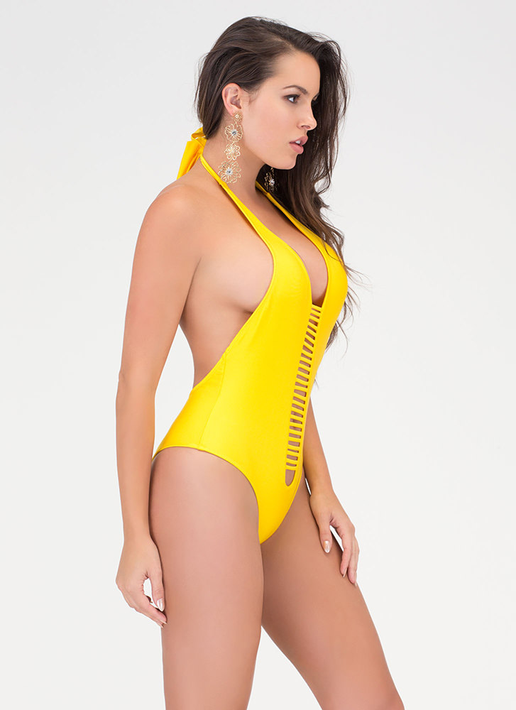 Body Goals Strappy One-Piece Swimsuit YELLOW (Final Sale)