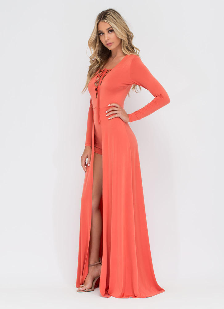 Sweeping Victory Lace-Up Maxi ORANGE