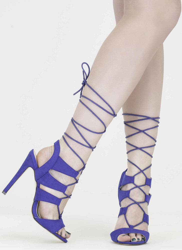Master Plan Lace-Up Heels BLUE