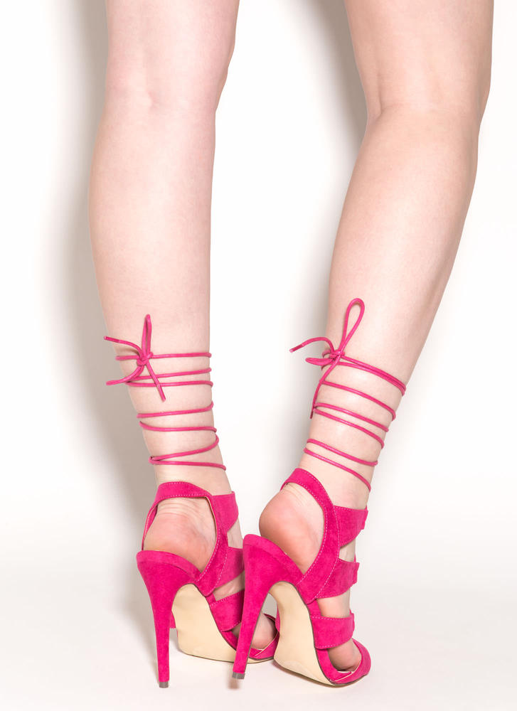 Master Plan Lace-Up Heels FUCHSIA