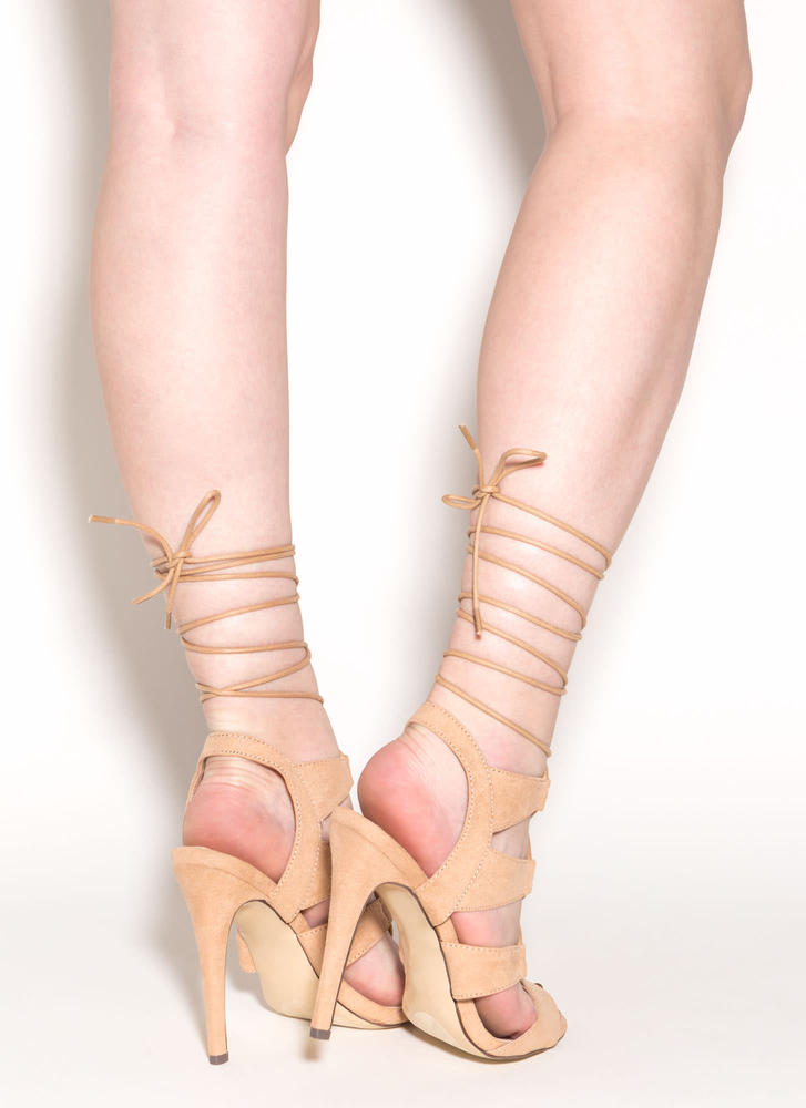Master Plan Lace-Up Heels NUDE