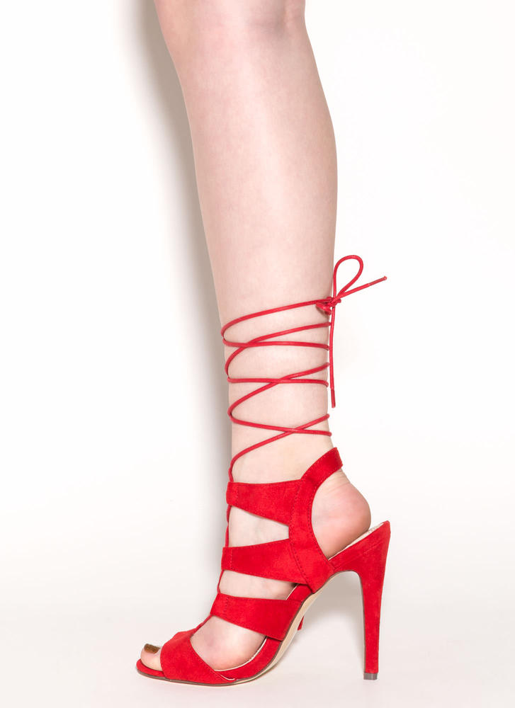 Master Plan Lace-Up Heels RED