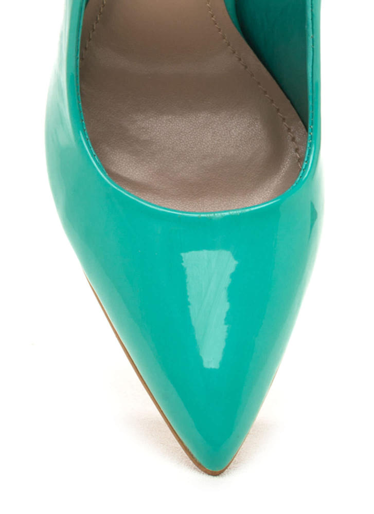 Totally Timeless Faux Patent Pumps AQUA