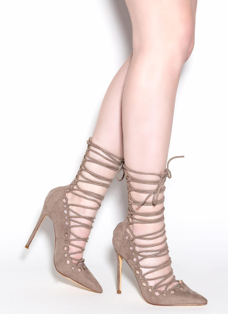 In Between Lace-Up Heels TAUPE