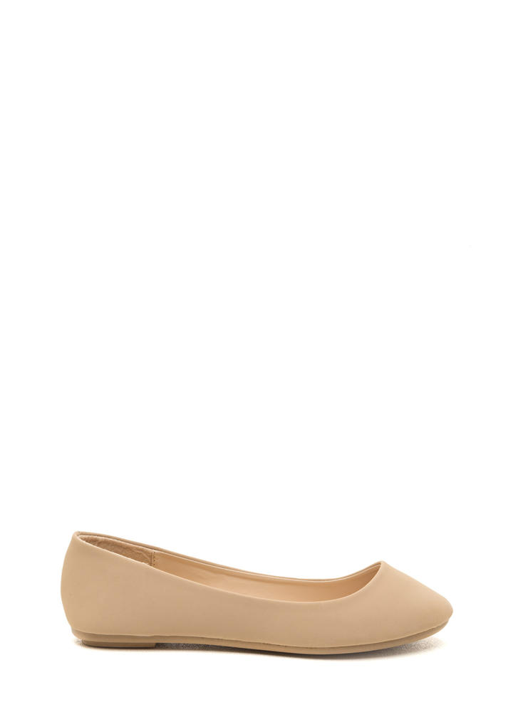 Casual Friday Faux Nubuck Flats NUDE