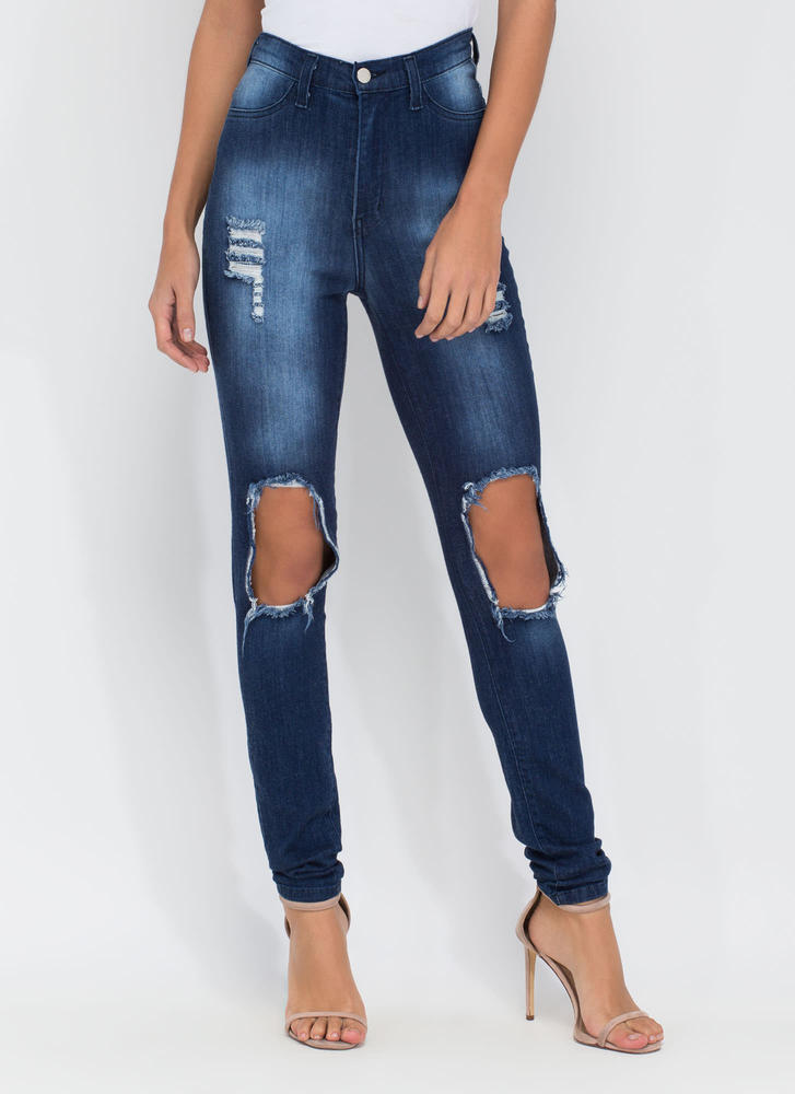 Make The Cut Distressed Skinny Jeans BLUE