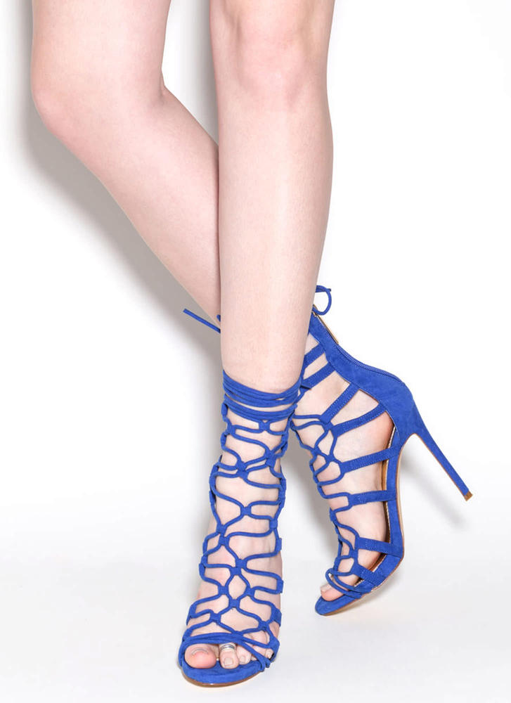 Laced And Loaded Faux Suede Heels BLUE