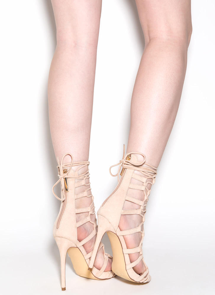 Laced And Loaded Faux Suede Heels NUDE