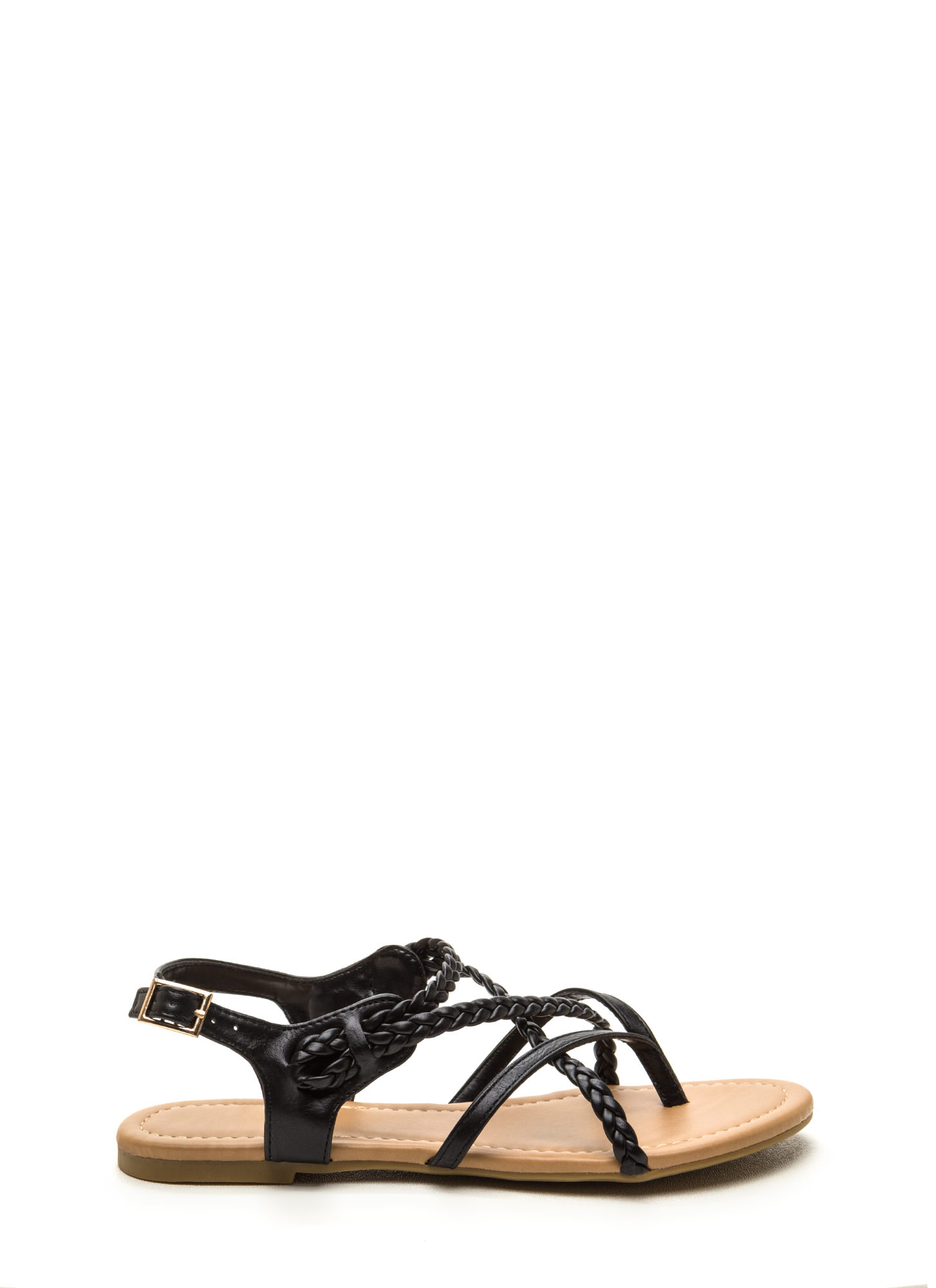Braided Bliss Strappy Thong Sandals BLACK
