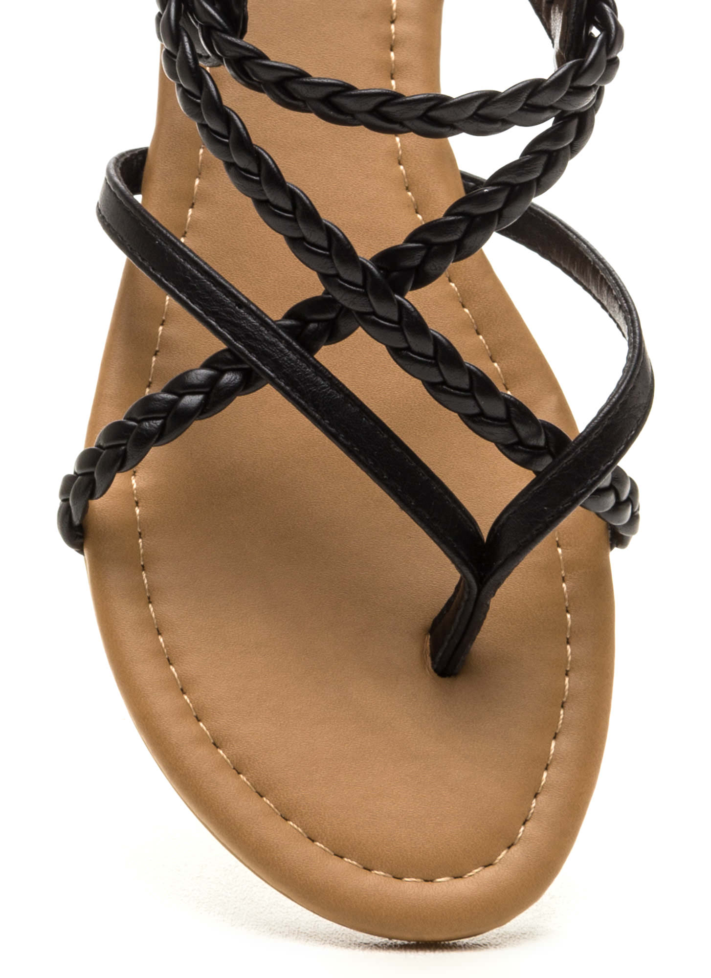 Black braided sandals