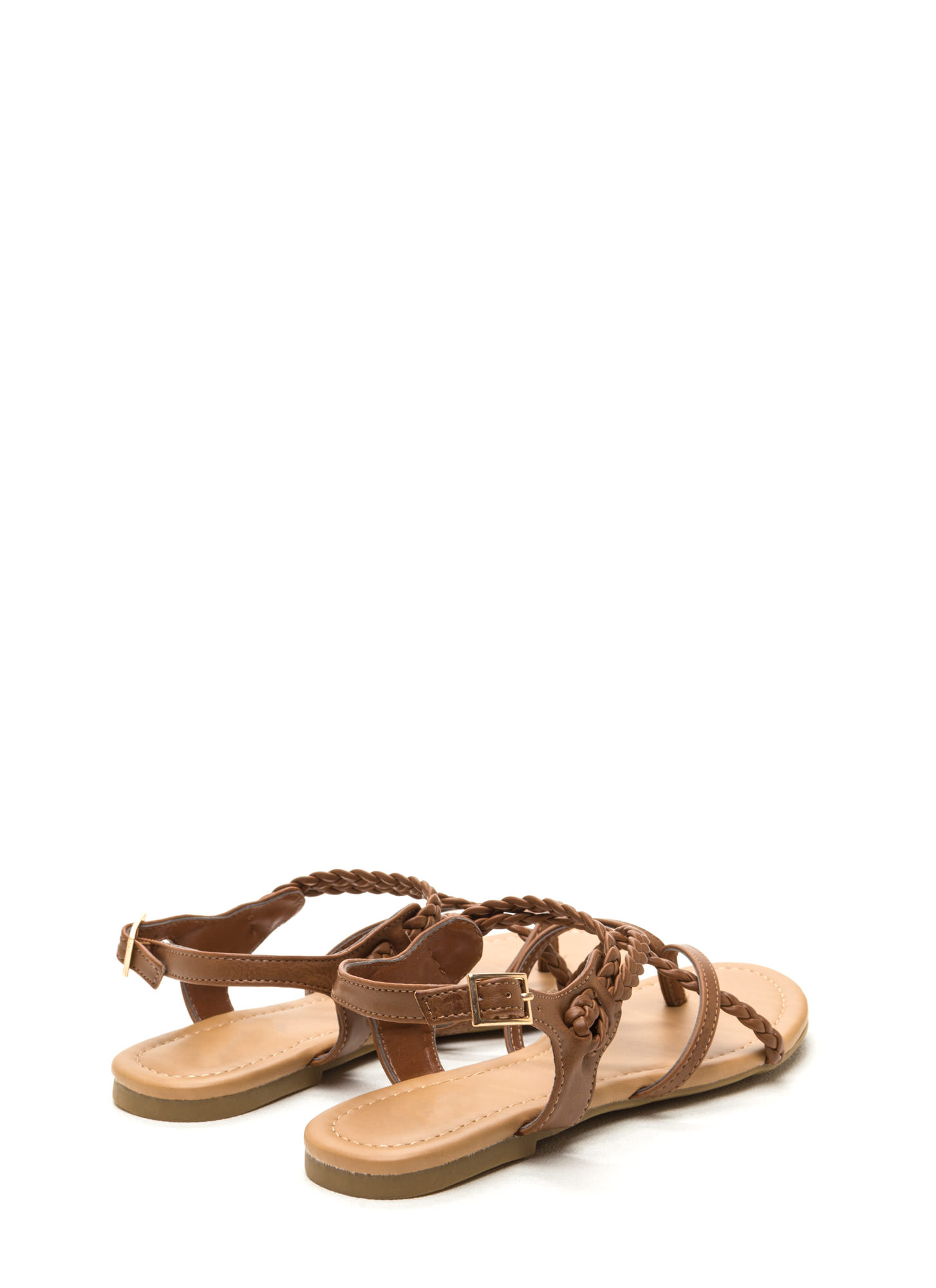 Braided Bliss Strappy Thong Sandals TAN