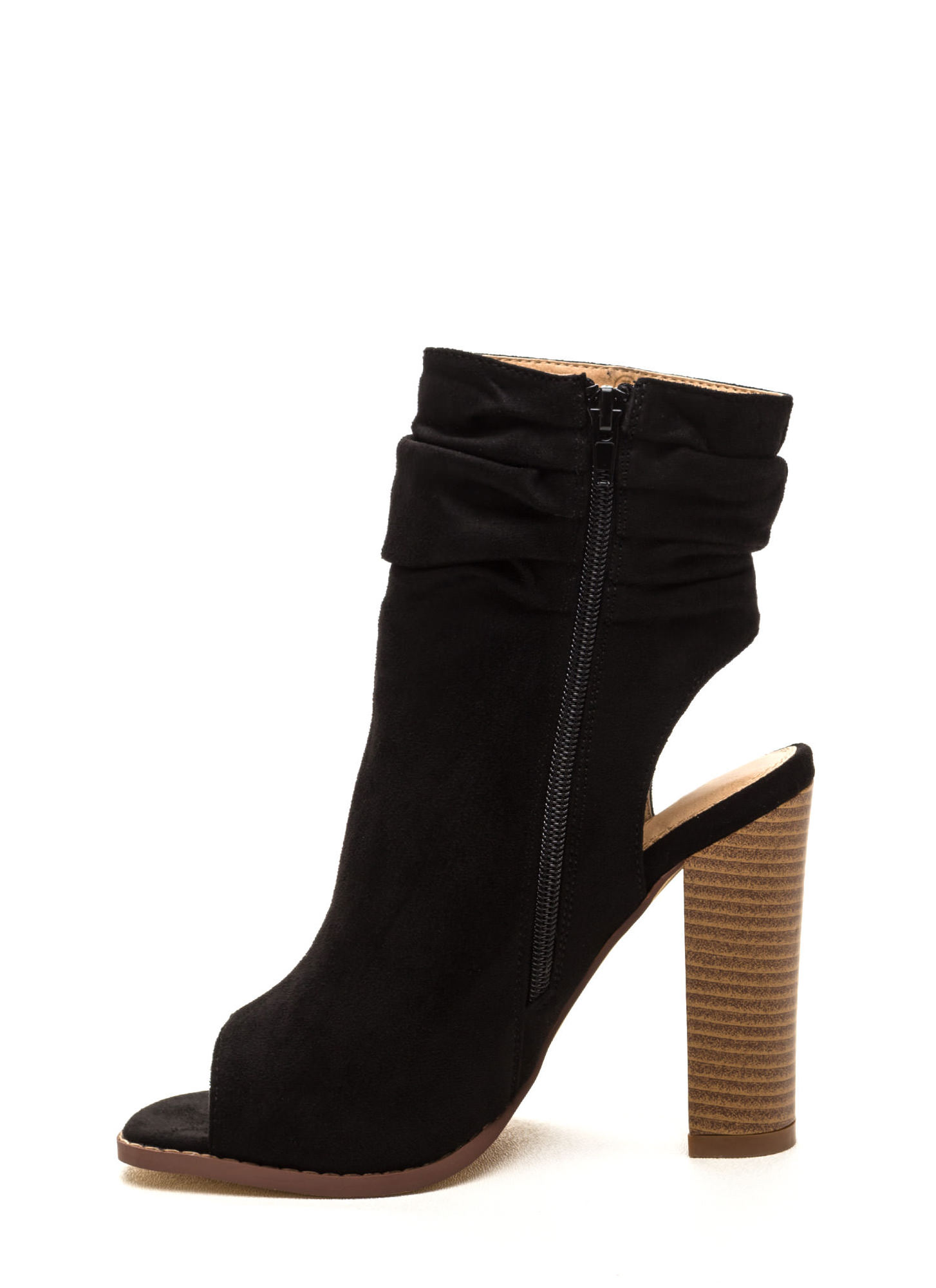Heel Me Slouchy Cut-Out Booties BLACK