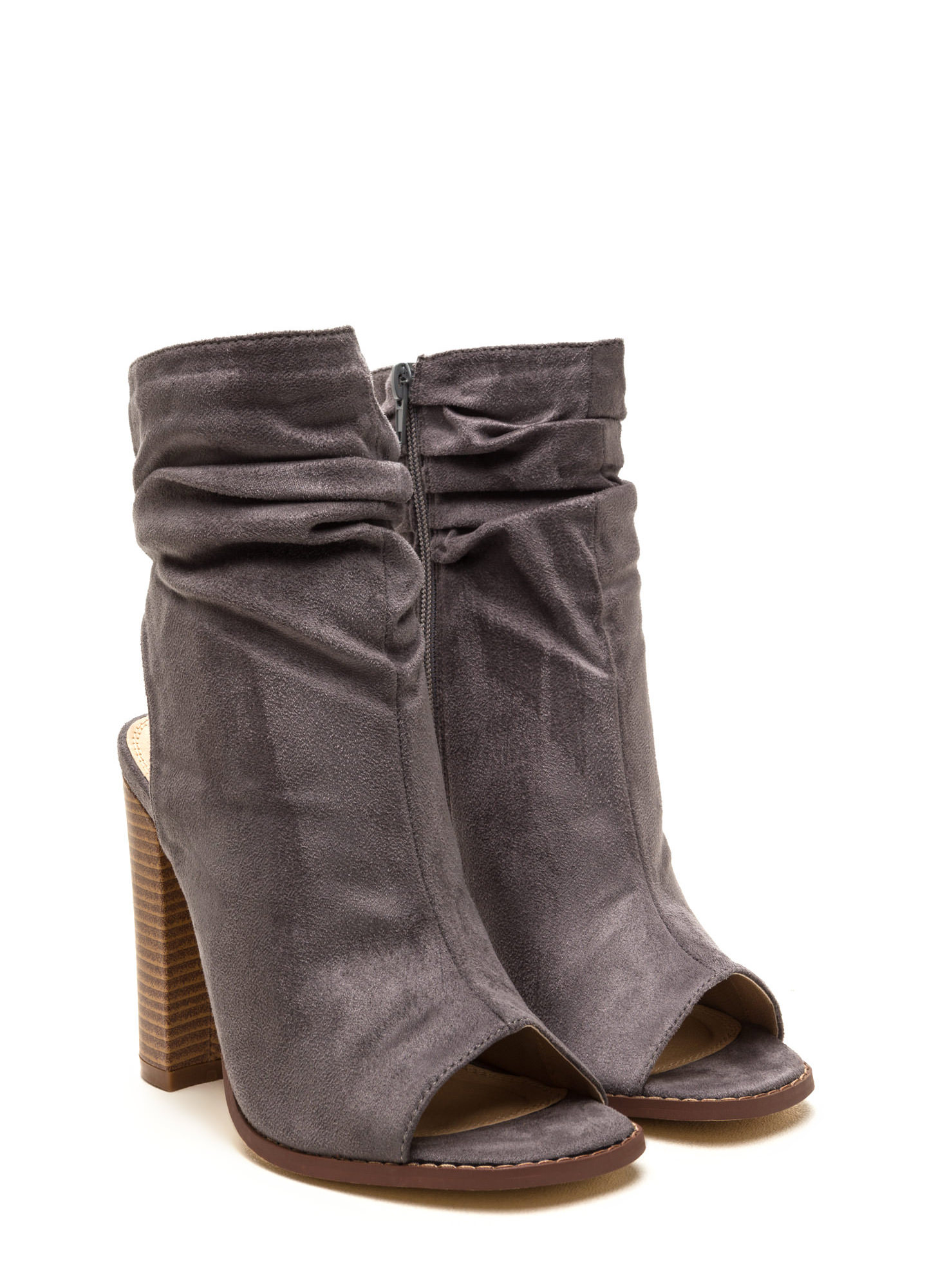 Heel Me Slouchy Cut-Out Booties GREY