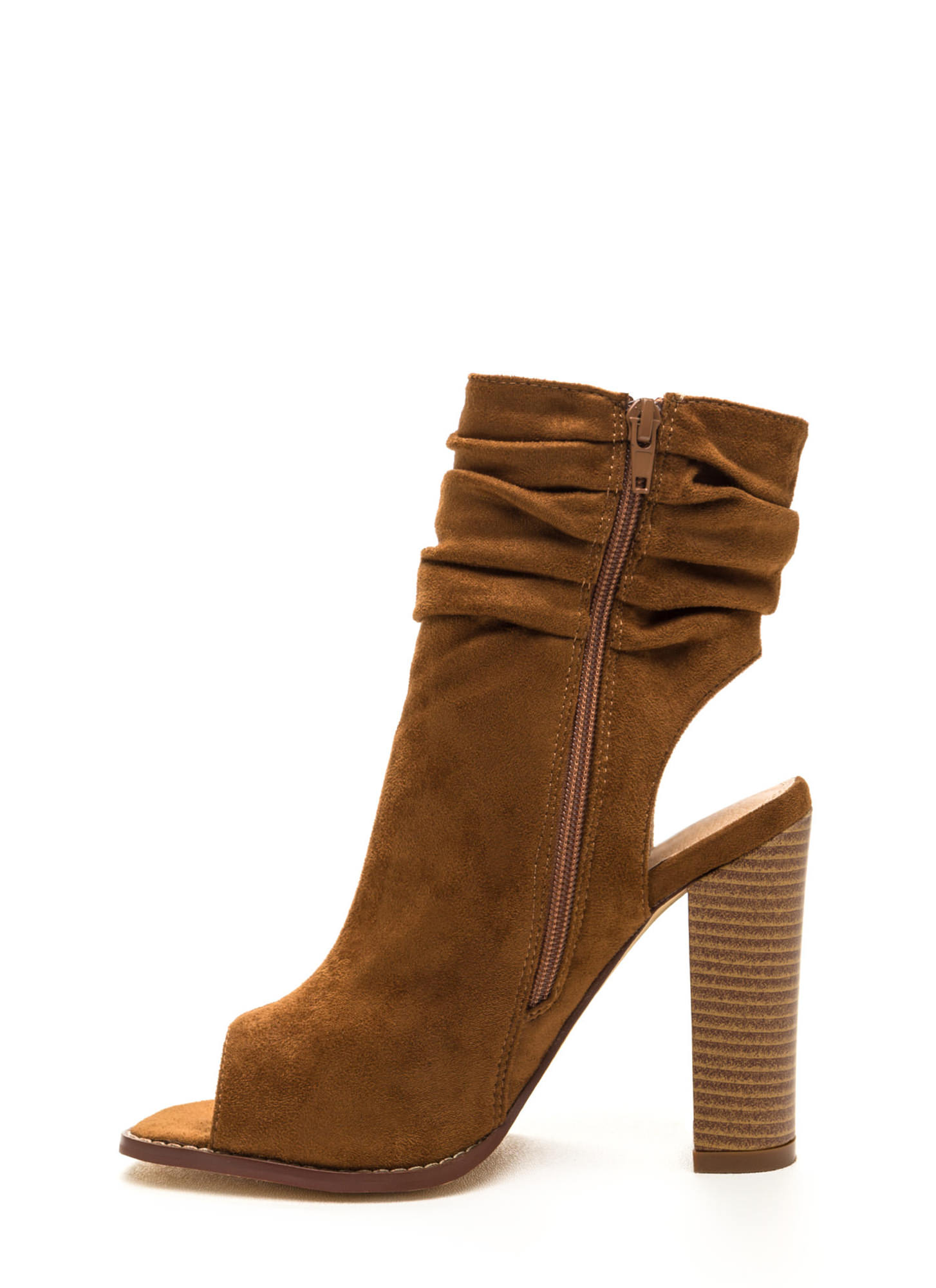 Heel Me Slouchy Cut-Out Booties TAN