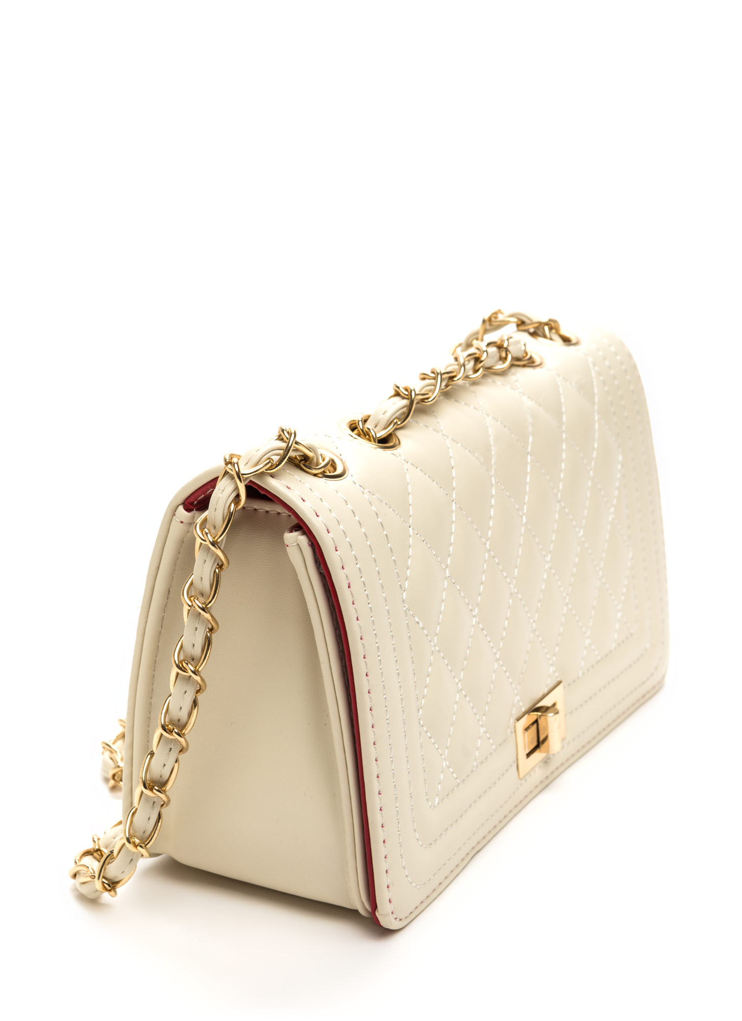 High Class Quilted Faux Leather Purse BEIGE