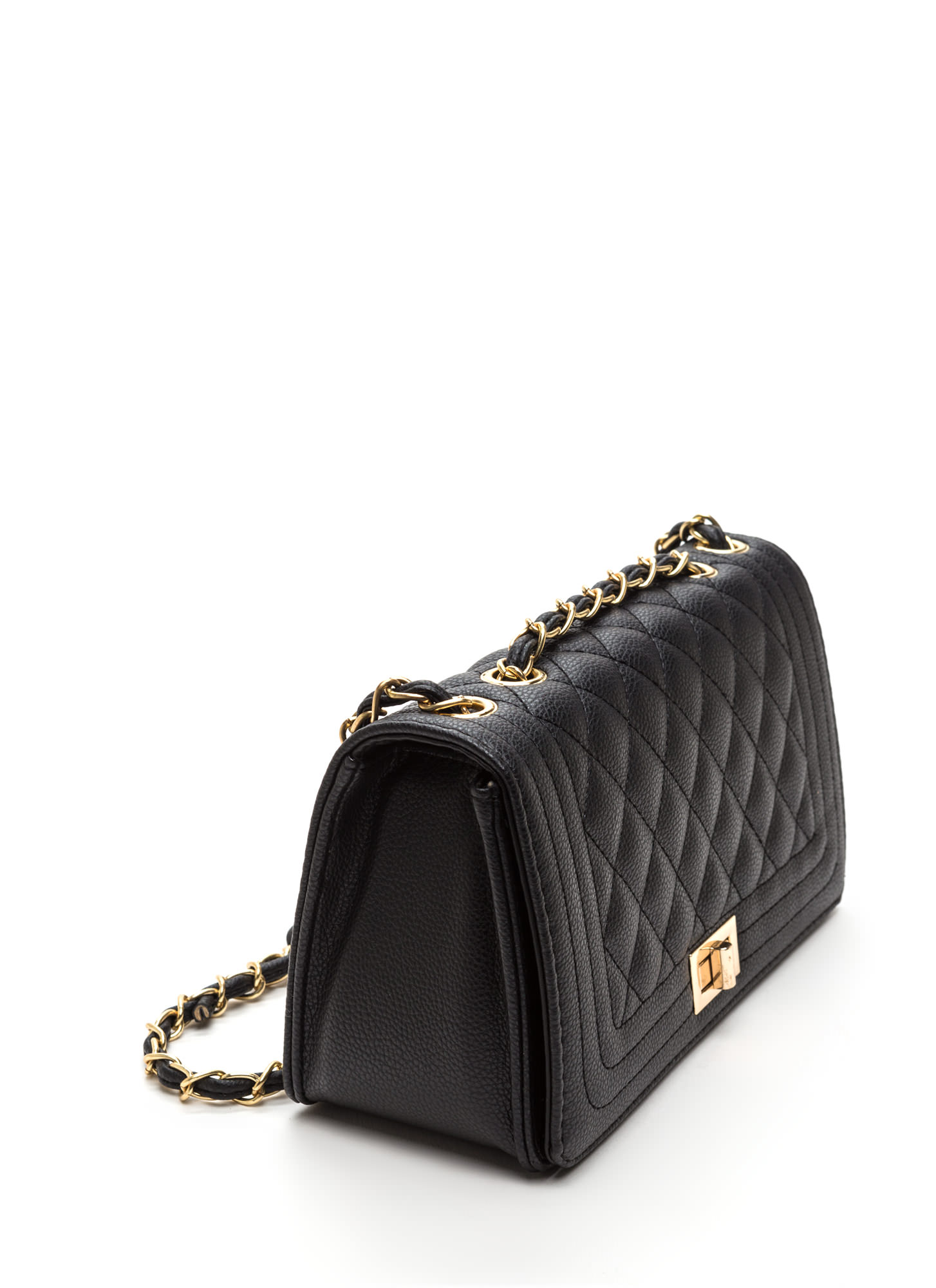 High Class Quilted Faux Leather Purse BLACK