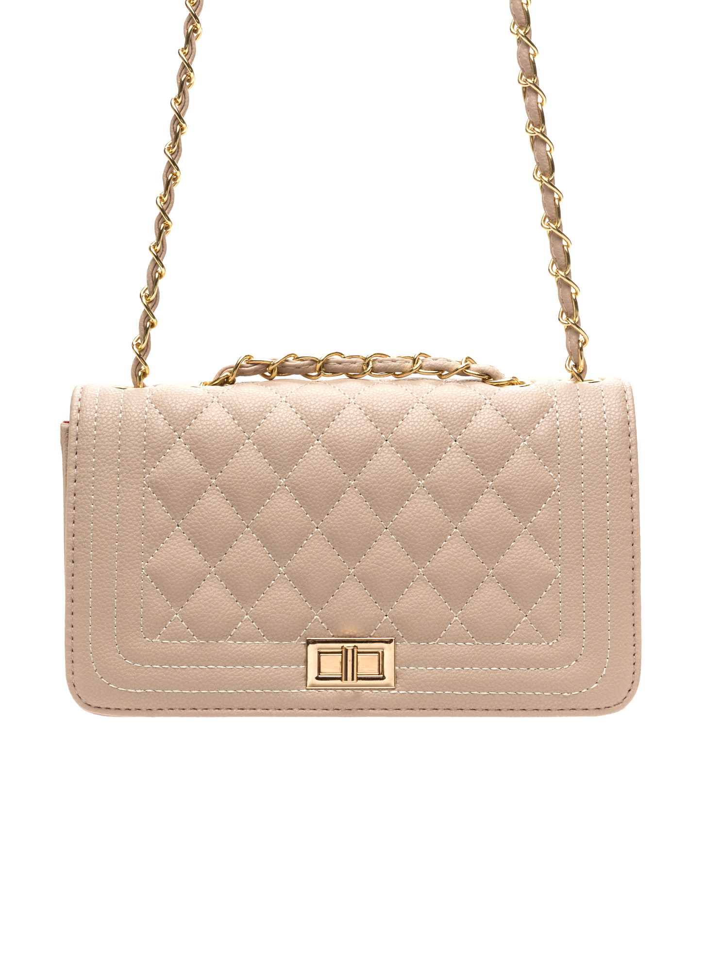 High Class Quilted Faux Leather Purse NUDE