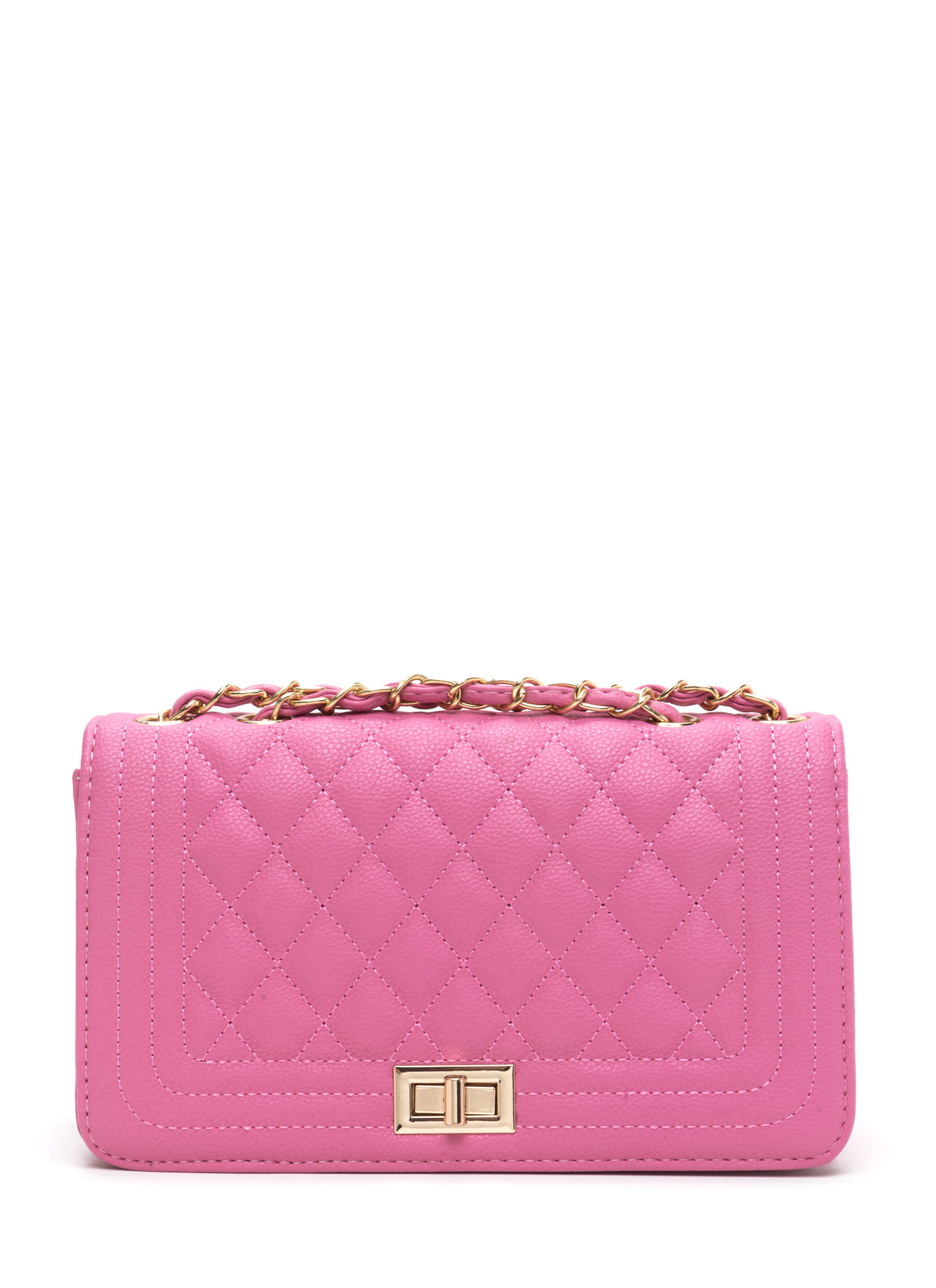 High Class Quilted Faux Leather Purse PINK