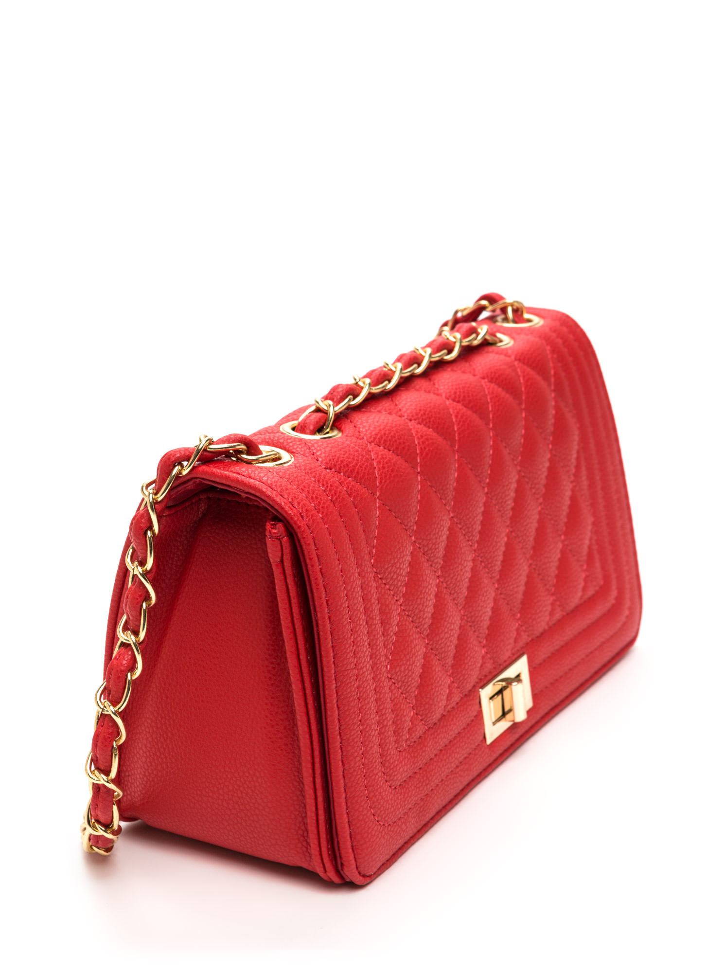 High Class Quilted Faux Leather Purse RED