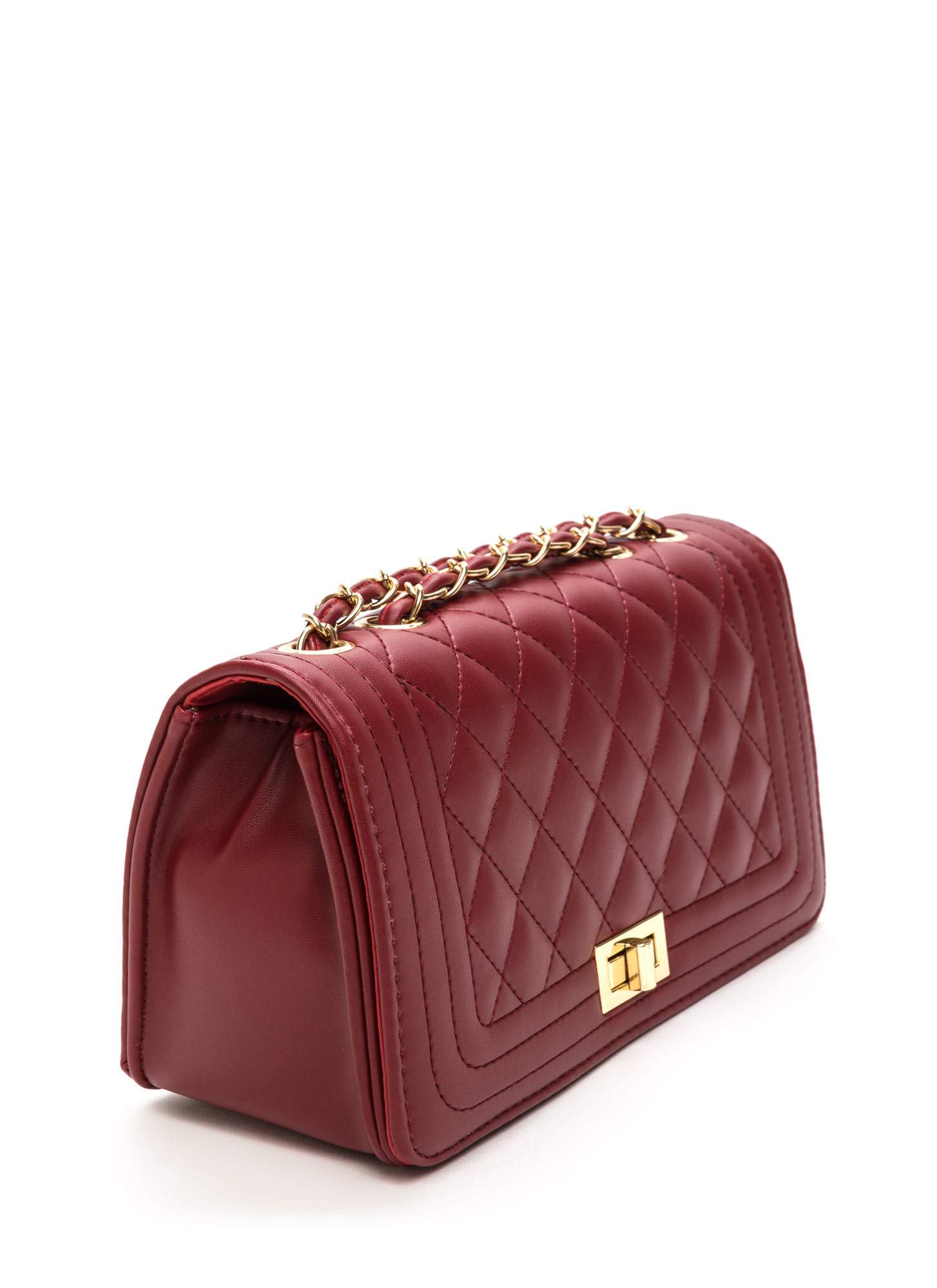 High Class Quilted Faux Leather Purse WINE