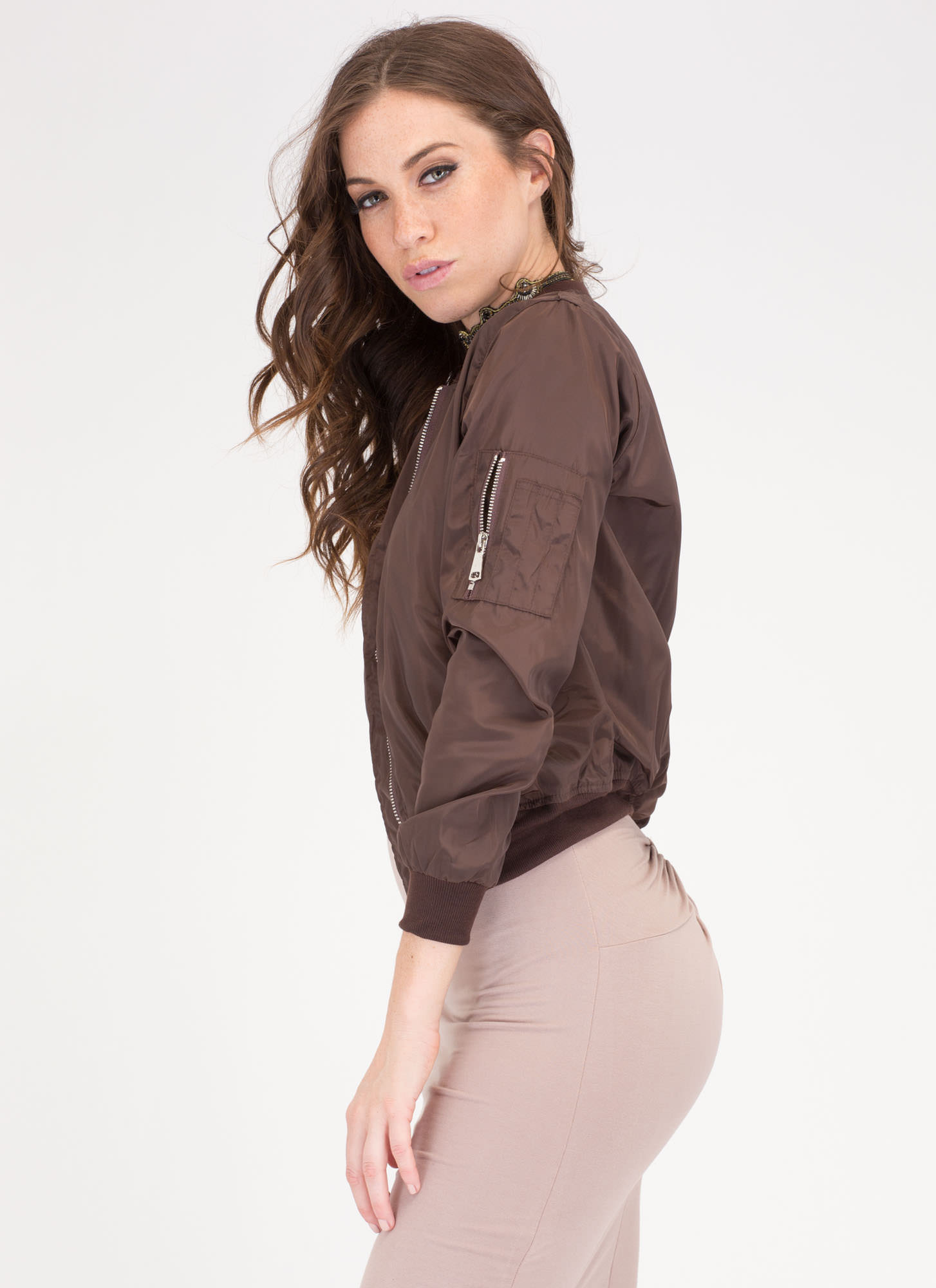 Top It Off Bomber Windbreaker Jacket COFFEE
