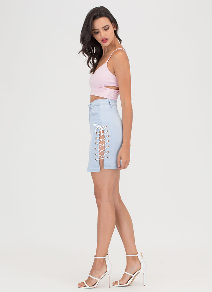 Totally Busted Cut-Out Crop Top BLUSH