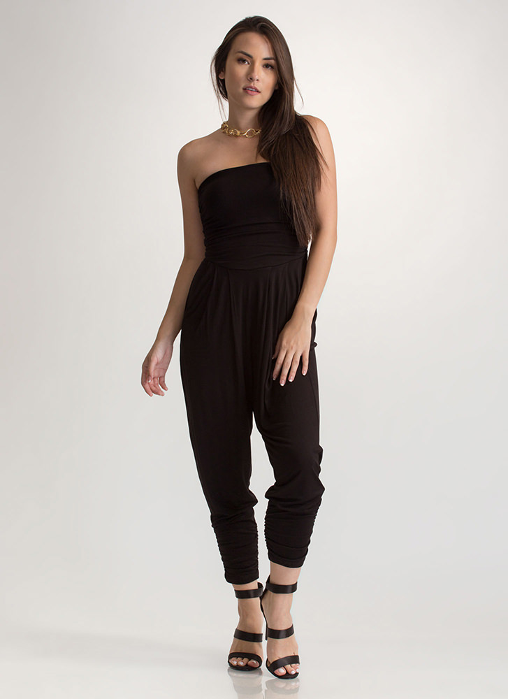 Go For It Ruched Harem Jumpsuit BLACK