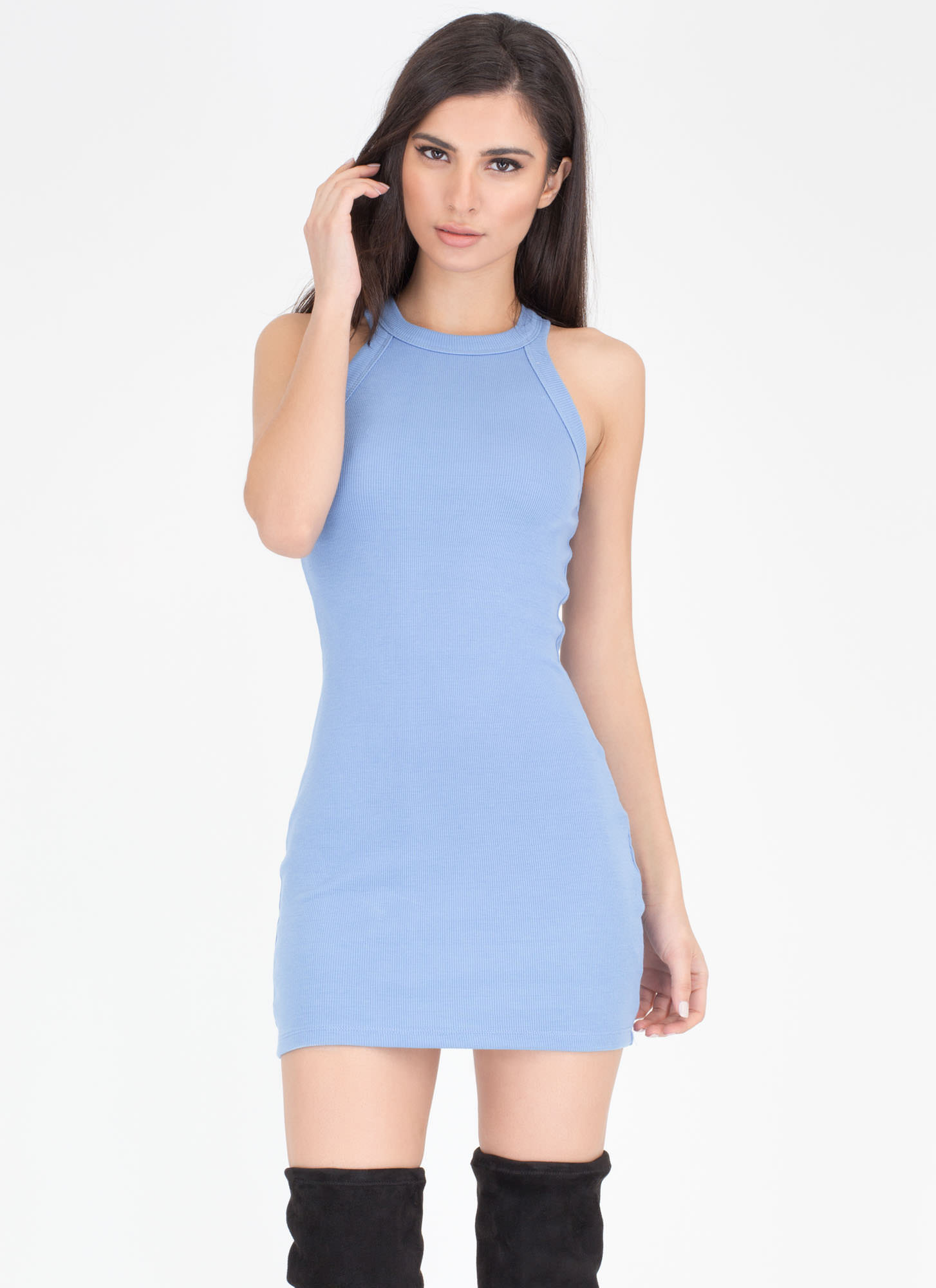 Easy Going Rib Knit Racerback Dress BLUE