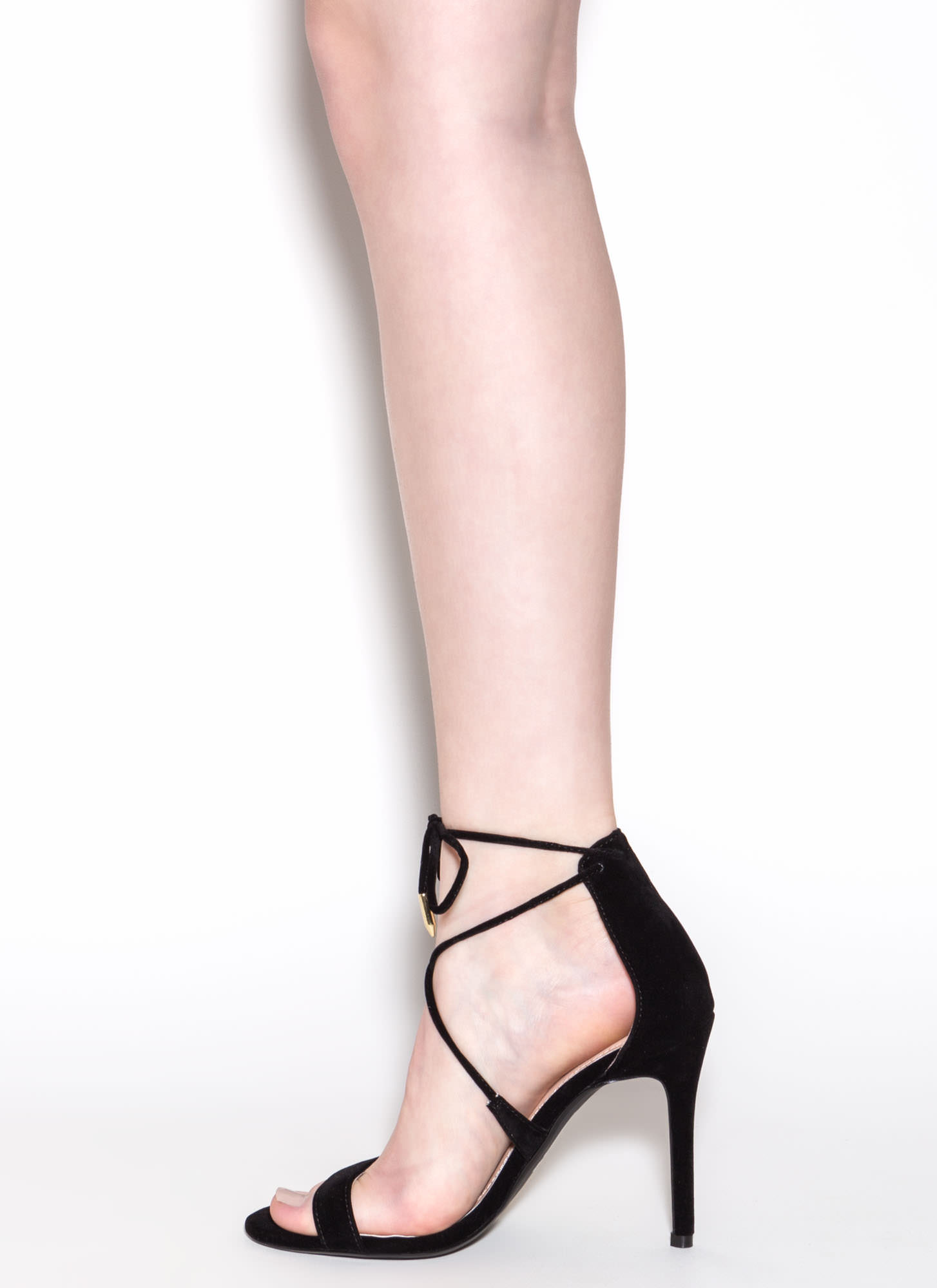Stepping Out Faux Suede Heels BLACK