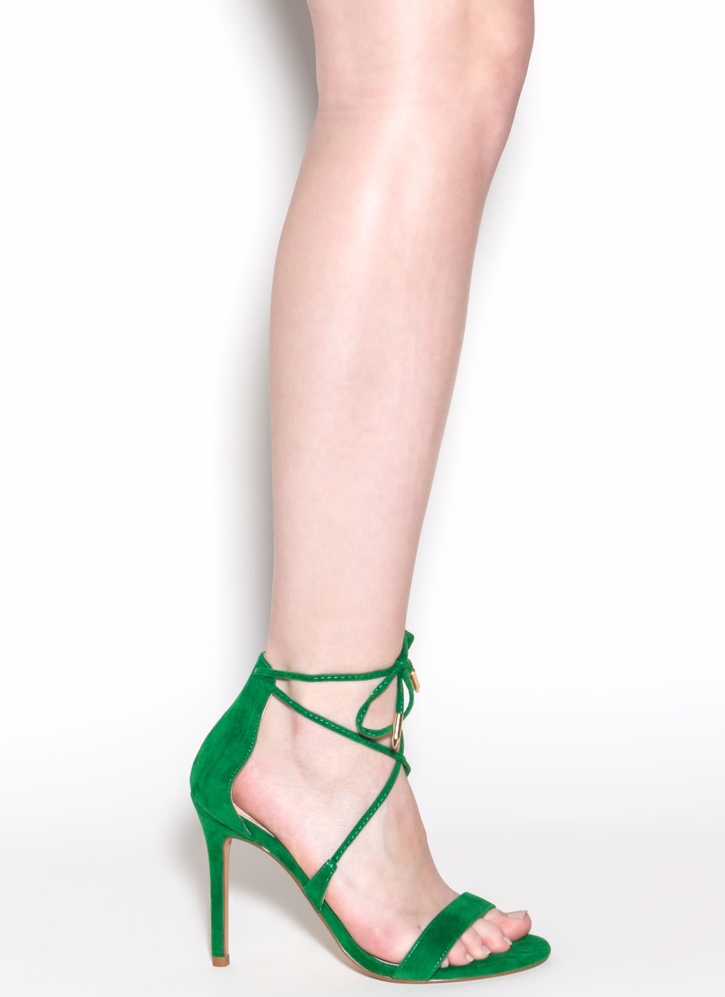 Stepping Out Faux Suede Heels GREEN