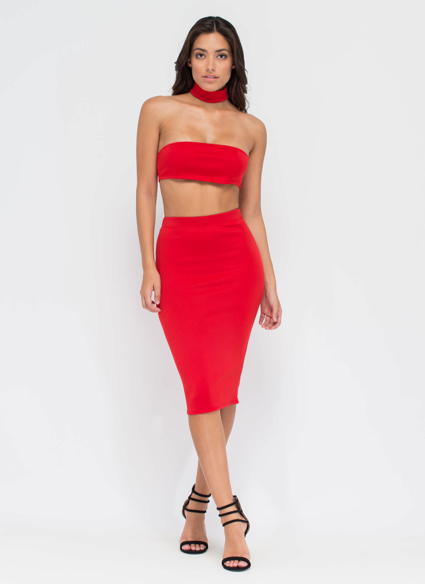 I'm With The Bandeau Crop Top RED