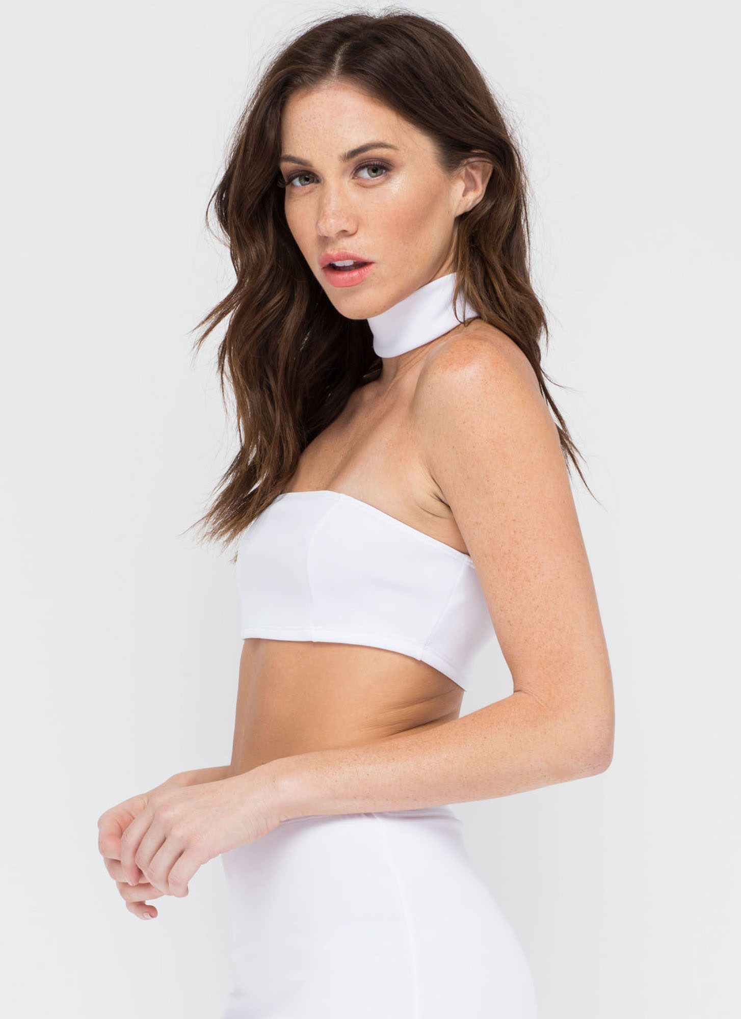 I'm With The Bandeau Crop Top WHITE