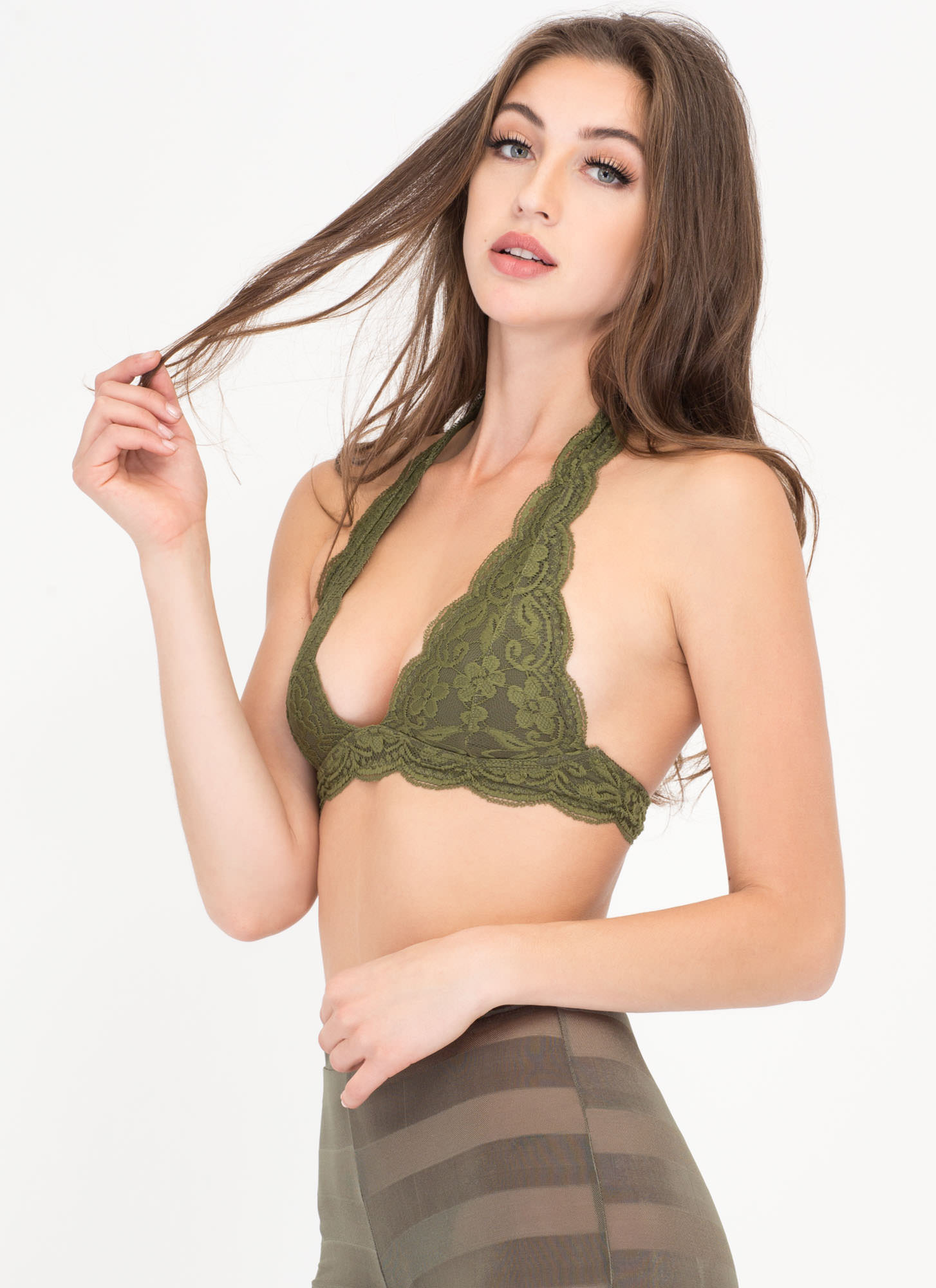 Frill Of The Chase Lace Bralette OLIVE (Final Sale)