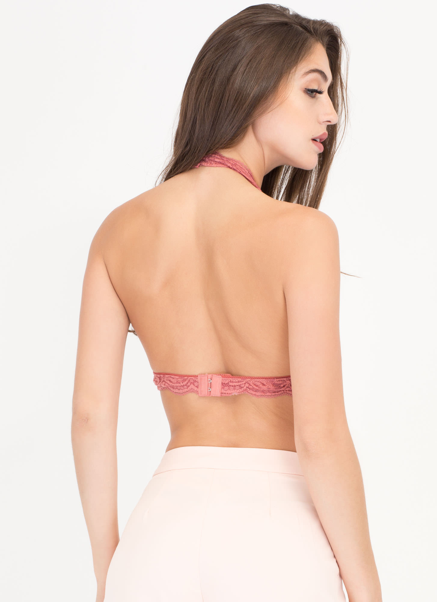 Frill Of The Chase Lace Bralette PEACH (Final Sale)