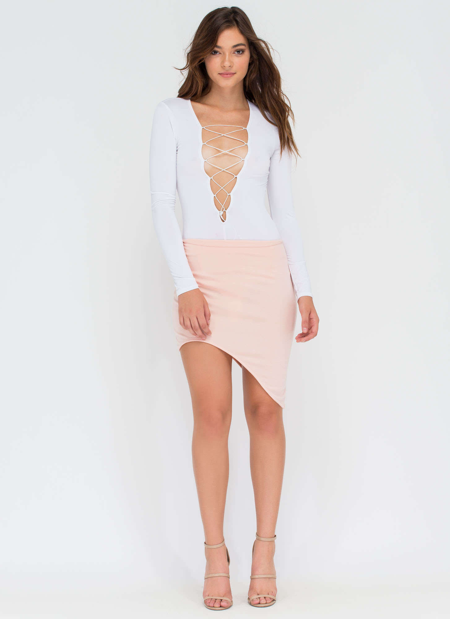 Curve Warning Asymmetrical Skirt BLUSH