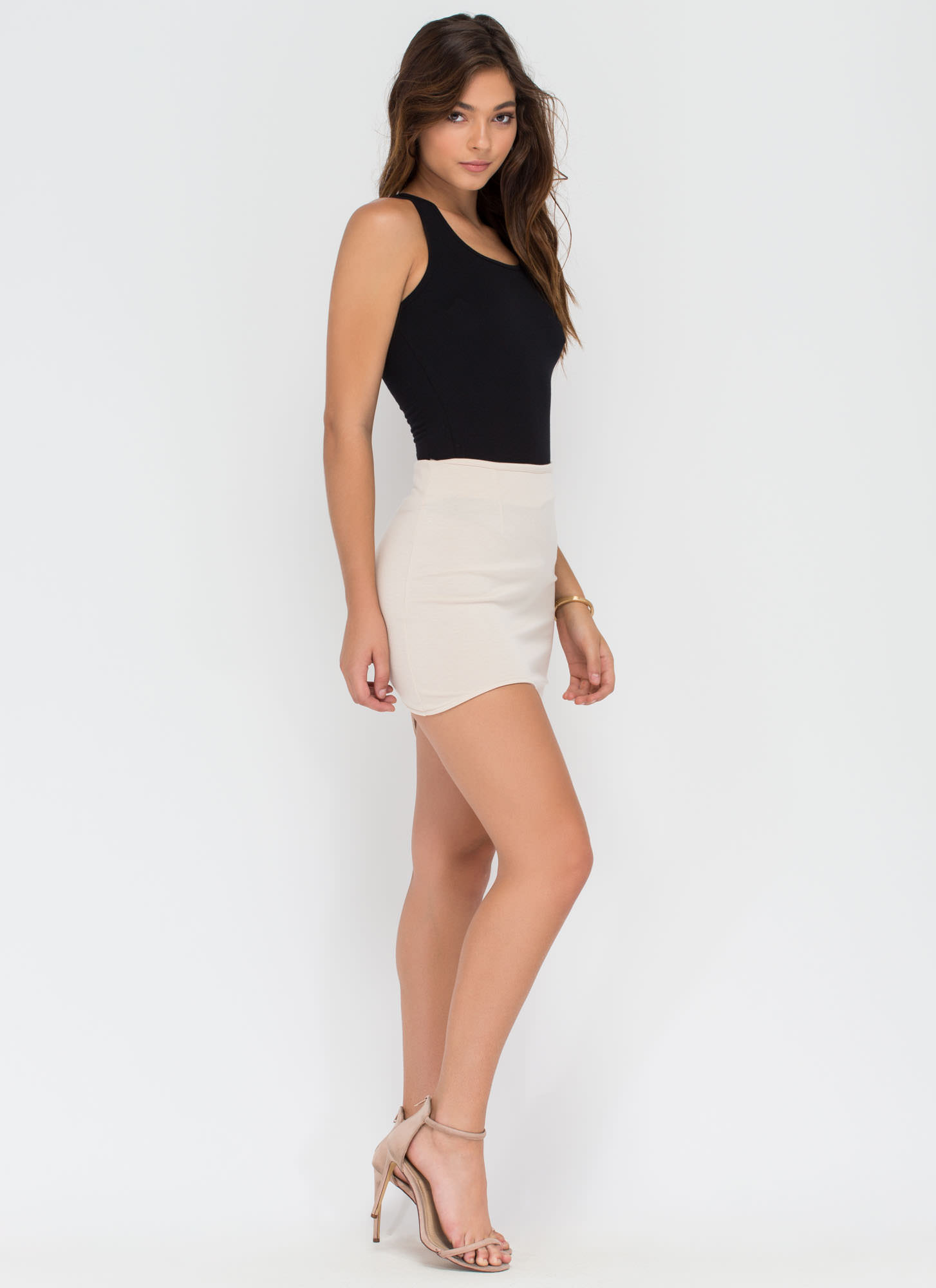 Curve Warning Asymmetrical Skirt KHAKI