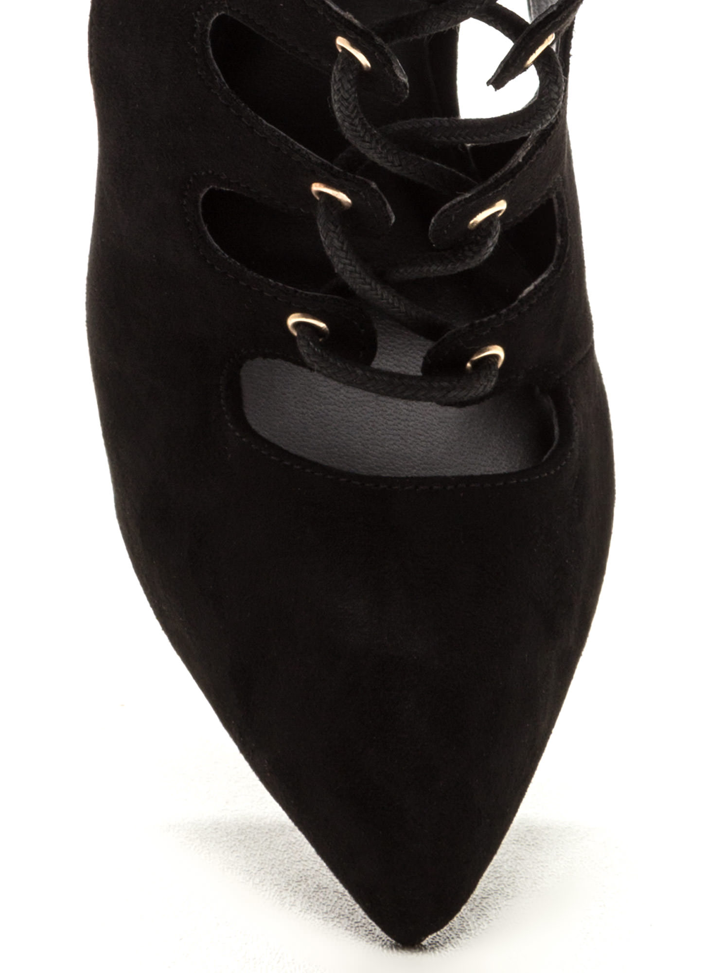 All In Order Lace-Up Faux Suede Heels BLACK