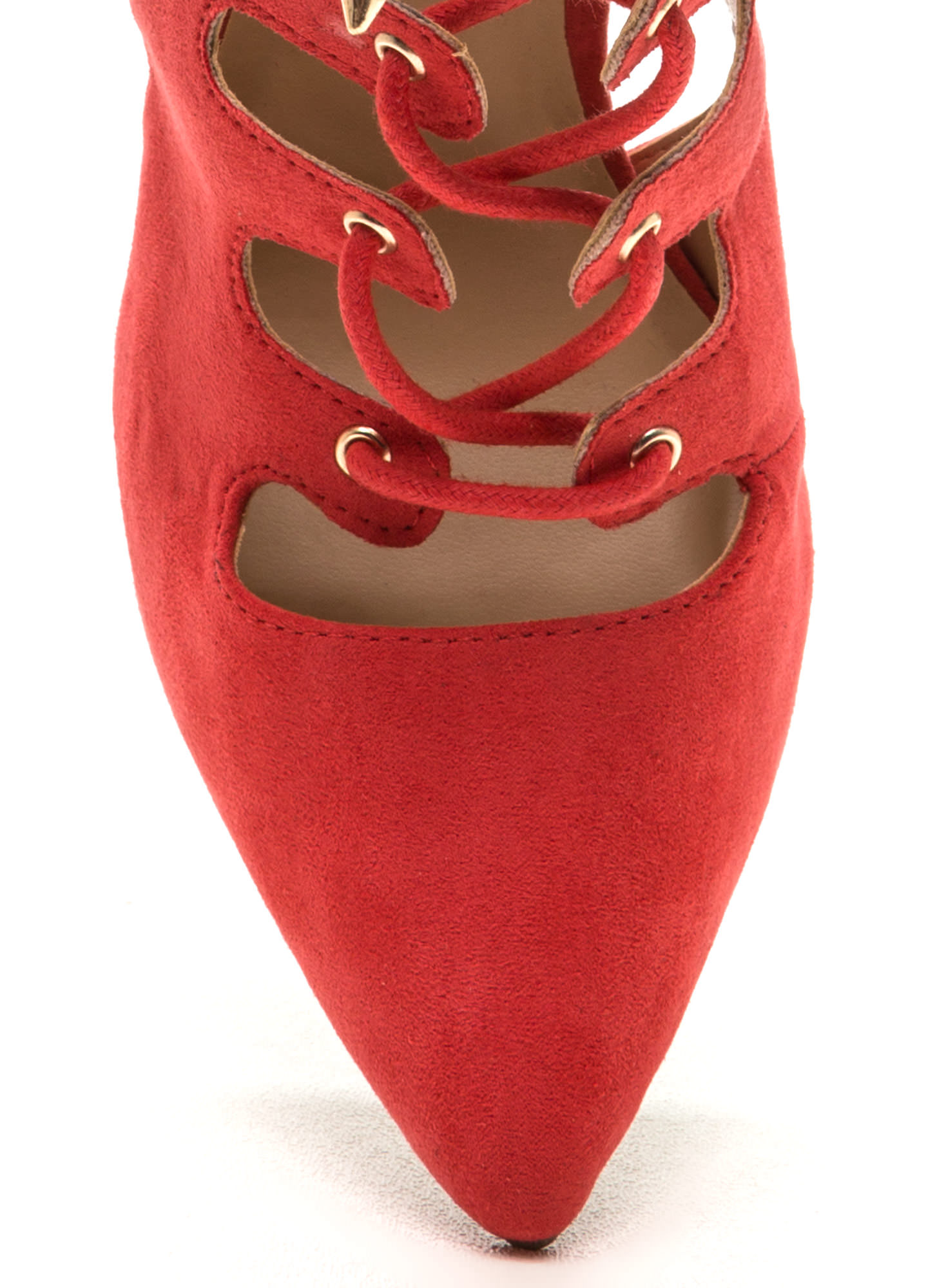 All In Order Lace-Up Faux Suede Heels DKCORAL