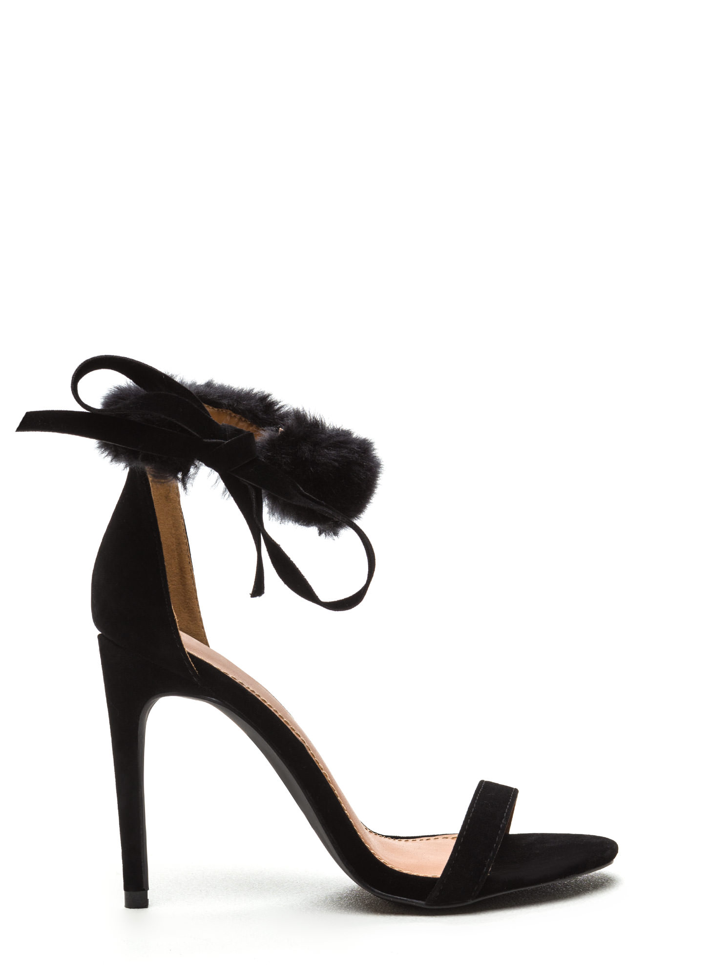 Fur Collar Faux Suede Heels BLACK