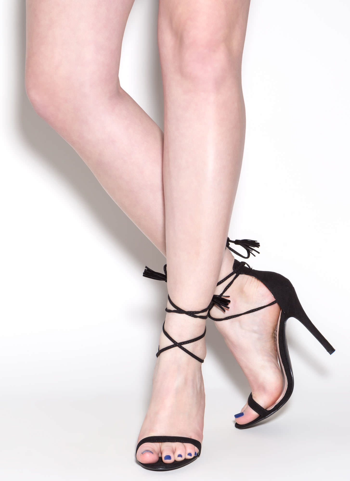 Totally Tied Up Faux Suede Heels BLACK