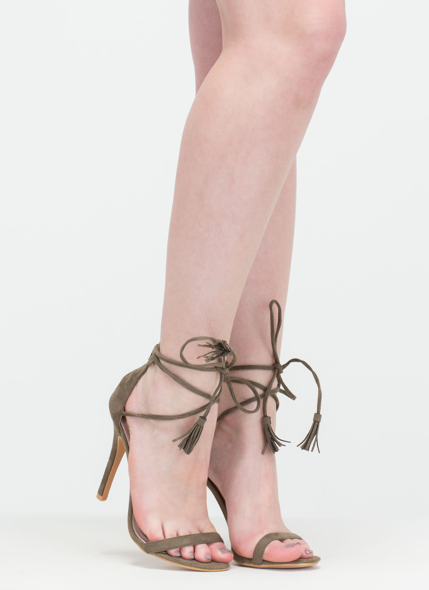 Totally Tied Up Faux Suede Heels OLIVE