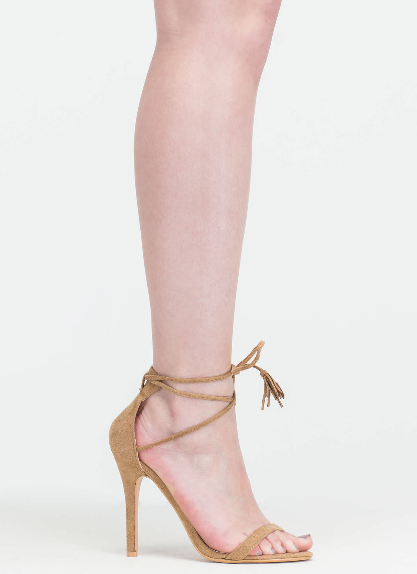 Totally Tied Up Faux Suede Heels TAUPE