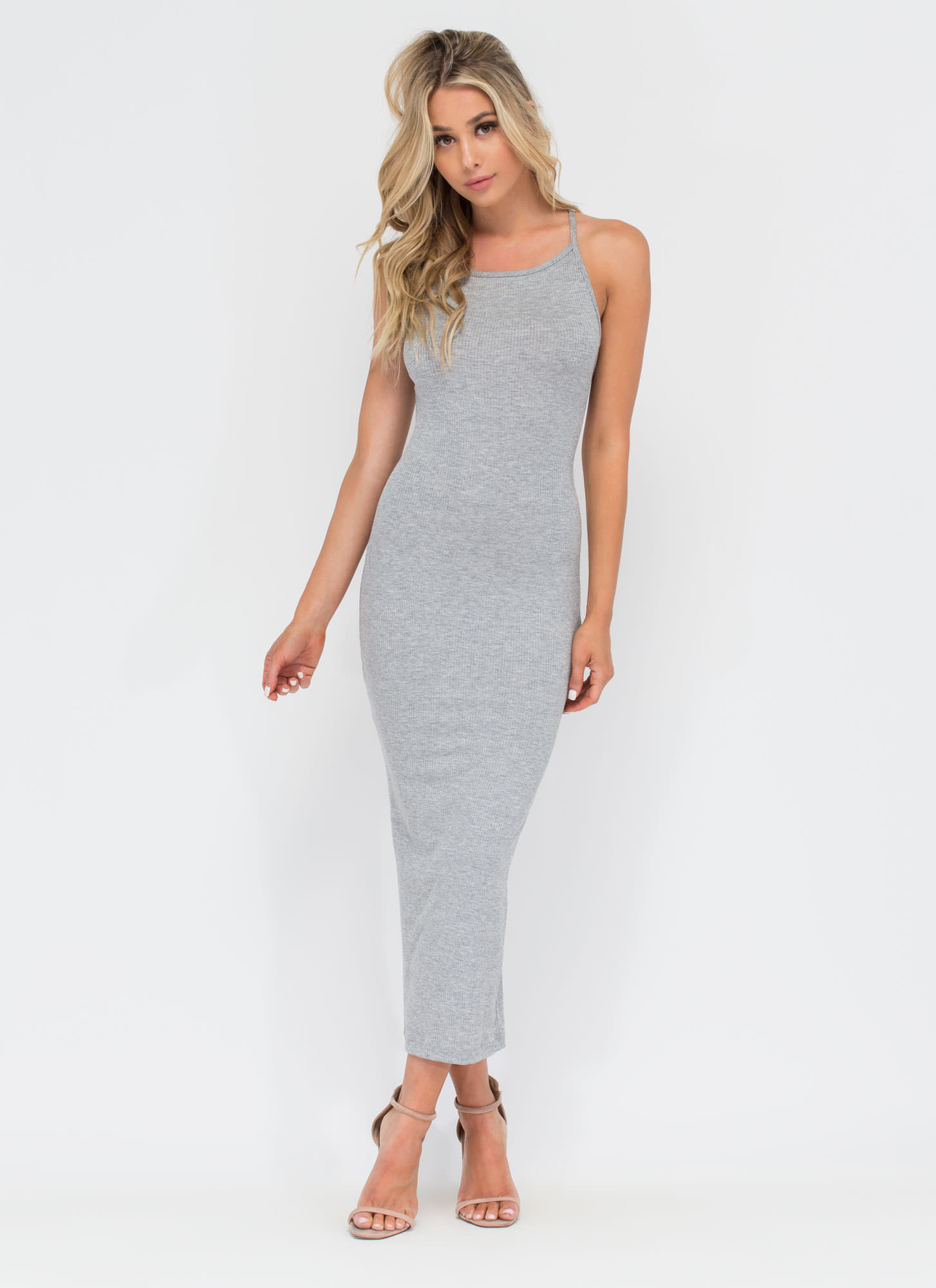 Daily Essential Ribbed Tank Dress HGREY