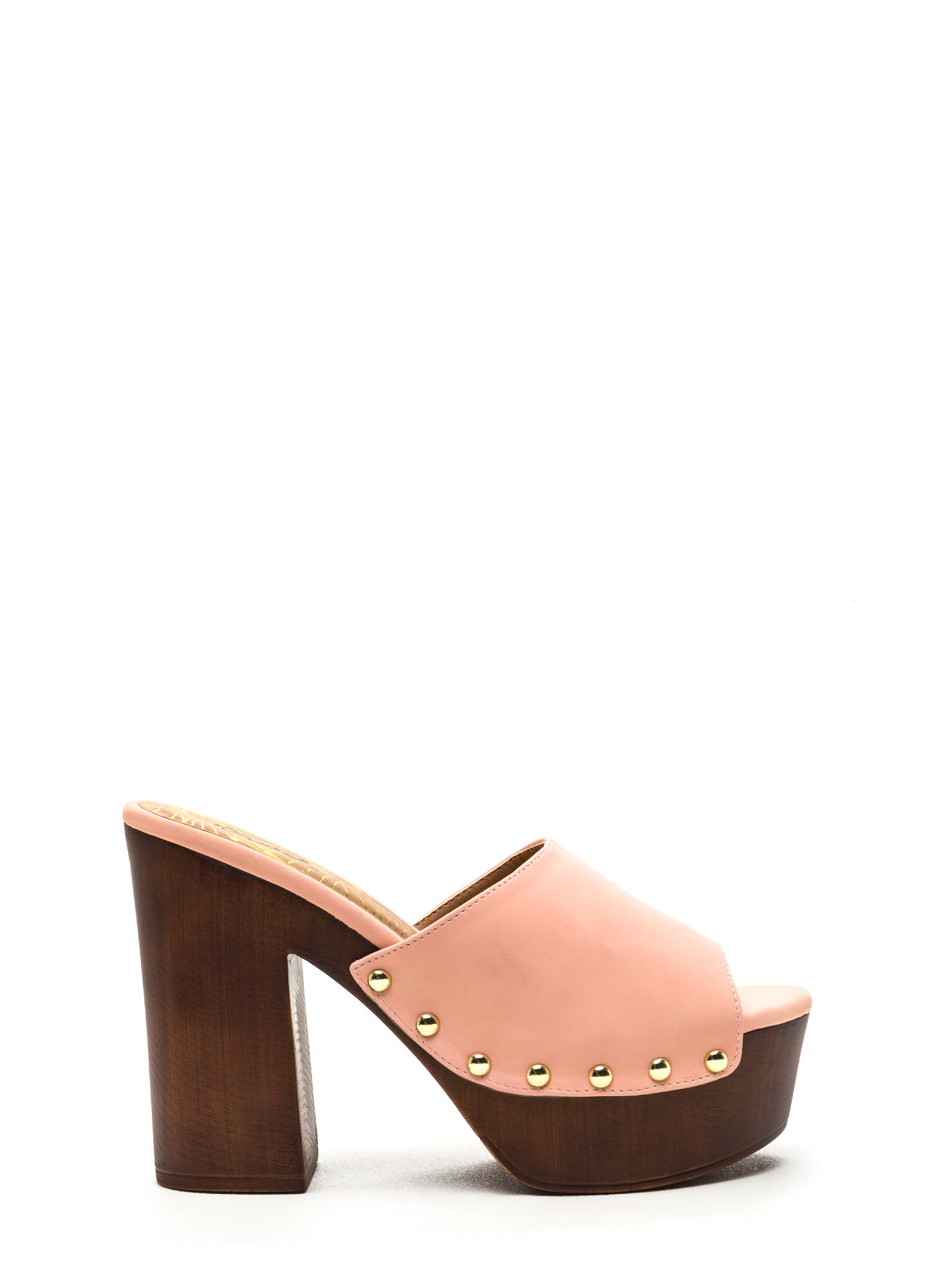 Hot Thing Vegan Nubuck Platform Mules PEACH