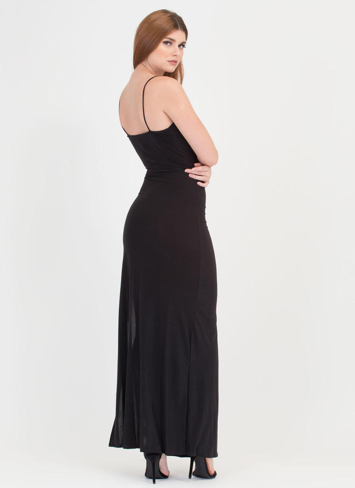 Evening Affair Ruched Maxi Dress BLACK