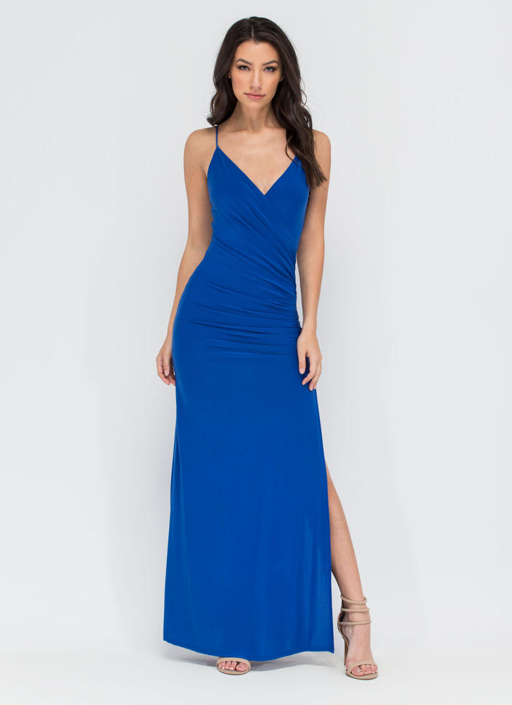 Evening Affair Ruched Maxi Dress ROYAL