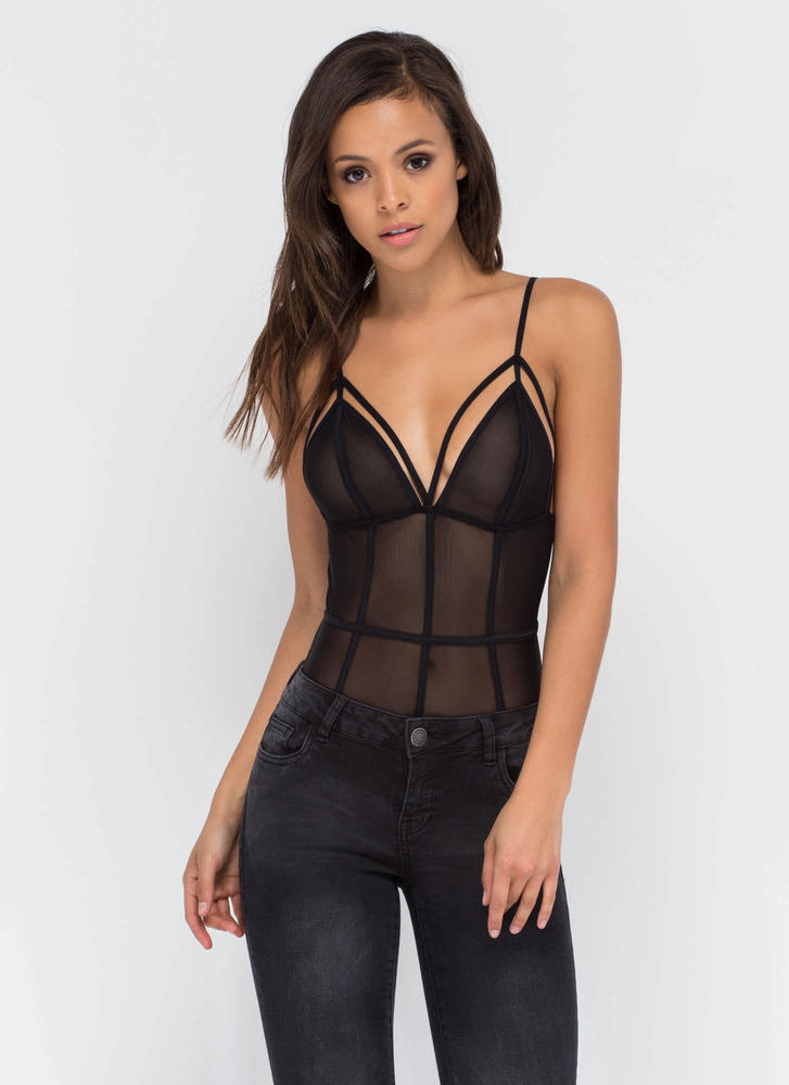 It's A Secret Sheer Bodysuit BLACK