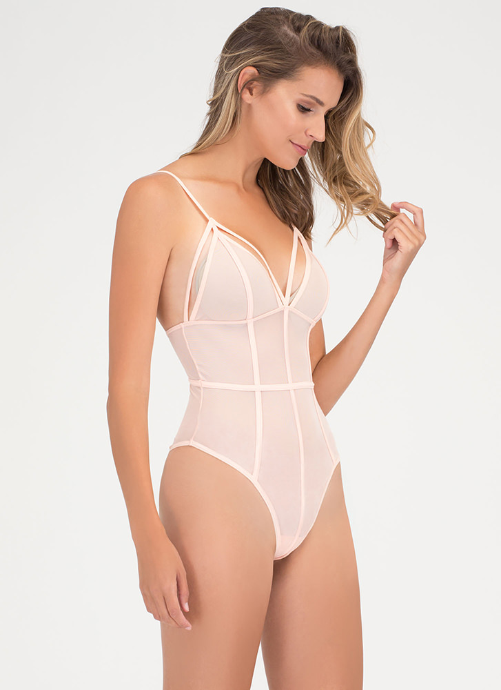 It's A Secret Sheer Bodysuit NUDE