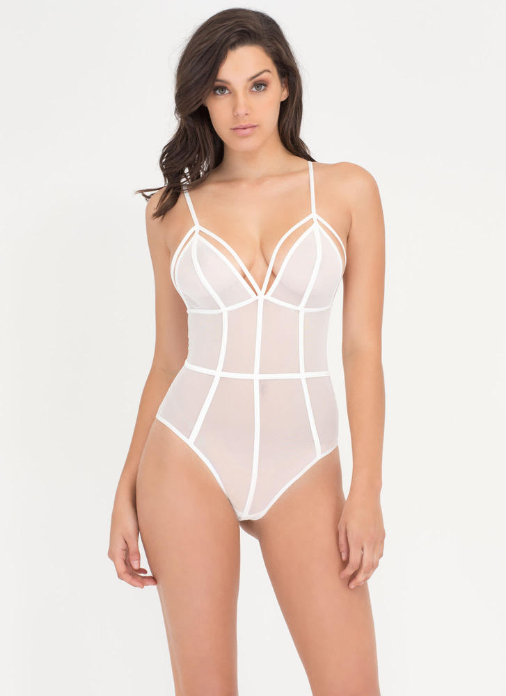 It's A Secret Sheer Bodysuit WHITE